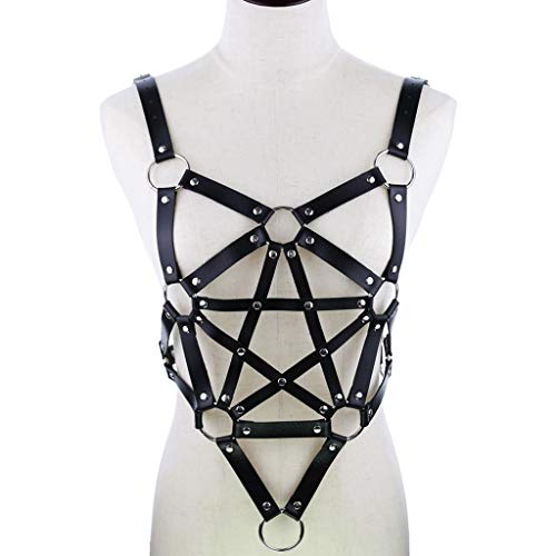ZOOMY Damen Herren Gothic Punk Brust Body Harness Kunstleder Verstellbarer Hüftgurt Hosenträger Aushöhlen Pentagram Star Outfits - Schwarz