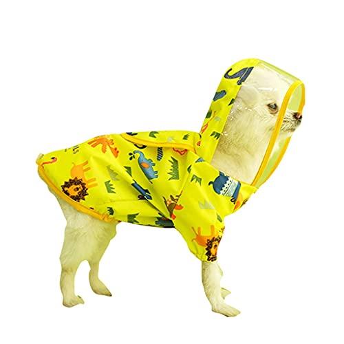 JYDQM Chubasquero para Perros con Dibujos Animados Lindo Animal Transparente con Capucha Reflectante para Perros pequeños y medianos Abrigo Impermeable Chaqueta Impermeable Ropa para Perros