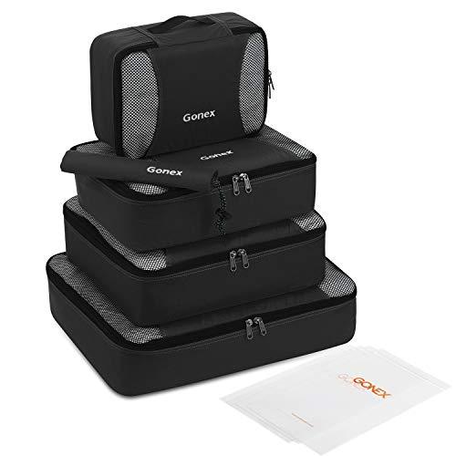 Gonex Packing Cubes Set, Lightweight Travel Luggage Suitcase Organizers Bags 5pcs + 1 Shoe Bag+ 4 Reusable Zip Bags Black