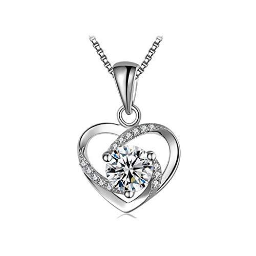 R.Sweetie|Herzkette Halskette für Frauen|Geschenk für frauen|Zircon von Swarovski|Liebe ist mein Glück | Silberkette | Anhänger Zirkonia ähnlich Diamant |SILBER 99,9 % |Silber Kette