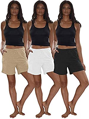 Sexy Basics Women's 3 Pack Cotton Sleep Pajama Shorts with Pockets & Drawstring (3 Pack- Black/Khaki Nude/White, Large)