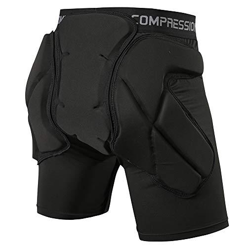 Shinestone Schutz-Shorts, gepolstert, abnehmbar, gepolstert, schützt vor Hüfte, Gesäß und Tailbone, geeignet für Ski, Skate und Snowboard und andere Sportarten, schwarz, X-Large