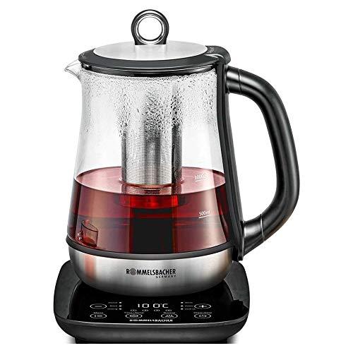 ROMMELSBACHER Tee- und Wasserkocher TA 2000 - 6 Programme, Temperaturregelung von 50-100 °C, Schnellstart-Taste, Ziehzeit bis 10 Minuten, Warmhaltefunktion, Glaskanne, Edelstahl-Teesieb, 2000 Watt