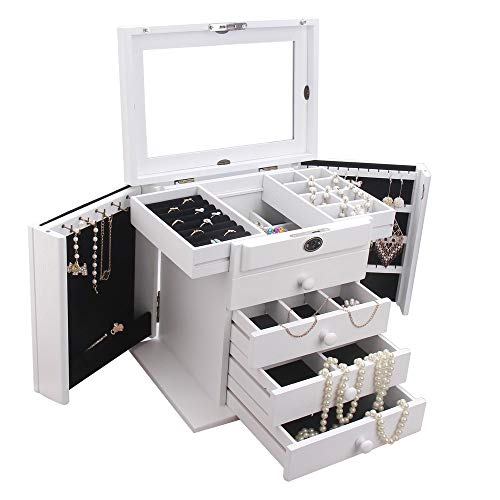 Jewelry Rack Personality White Wooden Travel Case Jewelry Storage Box With Lock Girls And Women's Gift High Capacity (Color : White, Size : 30.5x21x27.5cm)
