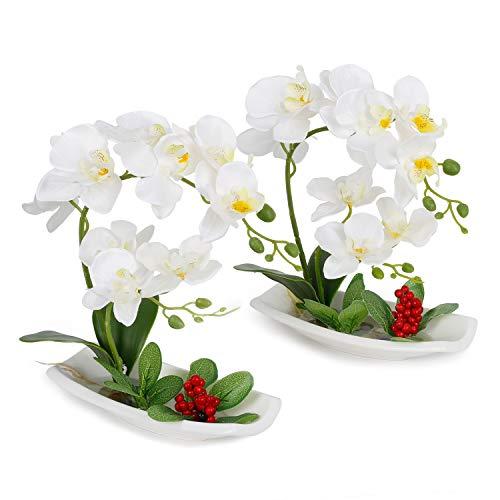 True Holiday - Arreglos de orquídeas artificiales con jarrón de porcelana blanca, flores y plantas artificiales para decoración de interiores, de plástico, diseño realista