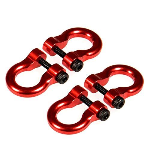 Gaetooely 4 PièCes SéRies / Ensemble MéTal Remorque Crochet Crochet de Remorquage Manilles pour SCX10 Trx4 1/10 RC Crawler RC PièCes Accessoires, Rouge