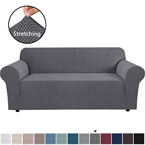H.VERSAILTEX Stretch Sofa Covers Couch Cover Furniture Protector Sofa Slipcover 1-Piece Feature High Spandex Textured Lycra Small Checks Jacquard Fabric with Elastic Bottom(Sofa 72'-96' Wide: Grey)