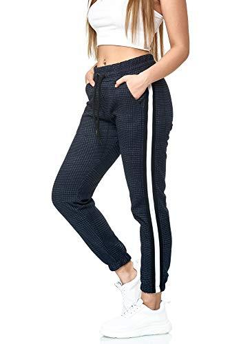 Damen Jogginghose Frauen Trainingshose Sport Fitness Gym Training Slim Fit Sweatpants Streifen Jogging-Hose Stripe Pants Modell 1226 (Navy Weiss, S)