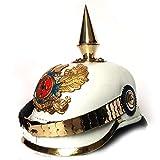 AnNafi White German Pickelhaube Spike Helmet | Leather Pickelhaube Imperial Prussian Helmet | Brass Military Officer Men's Costume | WWI & WWII Army Helmets Replica LARP Re-Enactment Cosplay Costumes