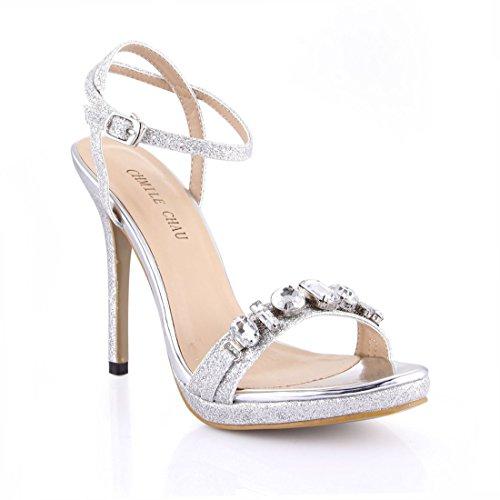 CHMILE CHAU-Zapatos para Mujer-Sandalias de Tacon Alto de Aguja-Talón Delgado-Sexy-Novia o Dama-Boda-Nupcial-Vestido...