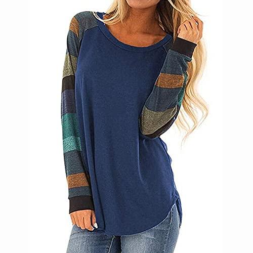 Coloody Magliette da Donna Manica Lunga Sweatshirt Girocollo Cuciture Blocchi di Colore Felpe Camicette Tunica Tops