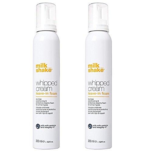Milk shake - Espuma cremosa «whipped cream leave-in foam», acondicionadora y protectora para todo tipo de cabello, 400 ml (pack de 2 x 200 ml)