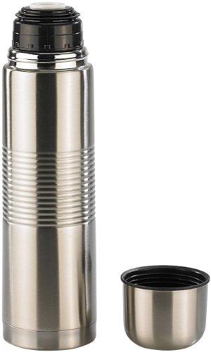 Rosenstein & Söhne Thermoflasche: Edelstahl-Isolierflasche mit Becher im Deckel 1,0 l (Reise-Isolierflasche)