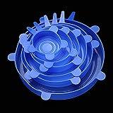 Tapa de silicona Tapa elástica reutilizable Sellado de alimentos Tapa de embalaje Utensilios de cocina (azul)