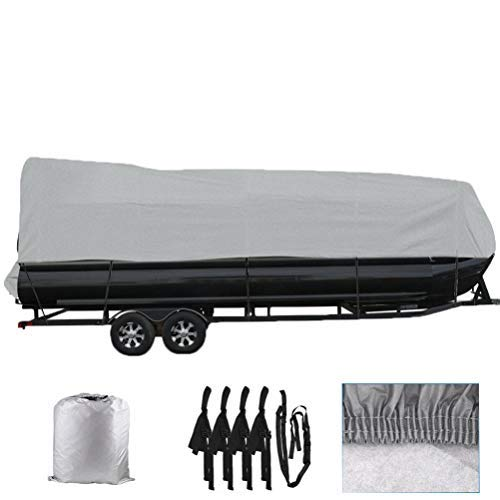 labworkauto 21 22 23 24FT Boat Cover Waterproof Trailerable Pontoon Heavy Duty Fabric Gray