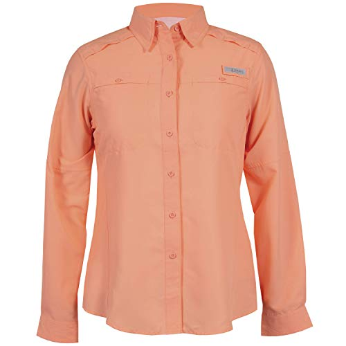 HABIT Women's Shell Cove Long Sleeve River Guide Fishing Shirt, Spiked Peach, X-Large, X-Large