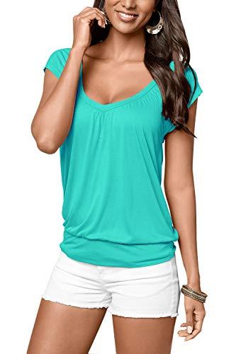 Uniquestyle Damen Sommer T-Shirt Kurzarmshirt V-Ausschnitt Lässige Stretch Falten Bluse Tops Oberteil Baumwollshirt Blickdicht (XXL, Mint)