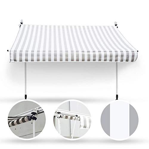Wohnstyle24 250 x 120 Klemmmarkise Fallarmmarkise Markise grau/weiß mit Handkurbel Sonnenschutz Sichtschutz