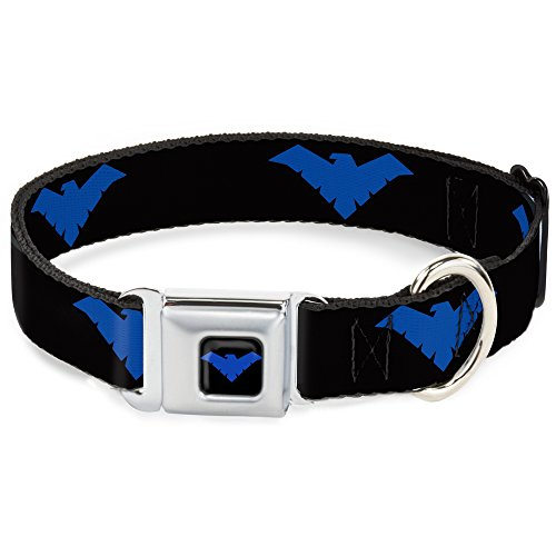 Buckle Down Hebilla de cinturón de Seguridad para Perro, con Logotipo de Nightwing, Color Negro y Azul, Multicolor, 1' Wide - Fits 15-26' Neck - Large