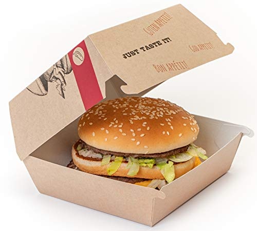 BBQ Just Taste it - Caja para Hamburguesas Talla L (50 Unidades).