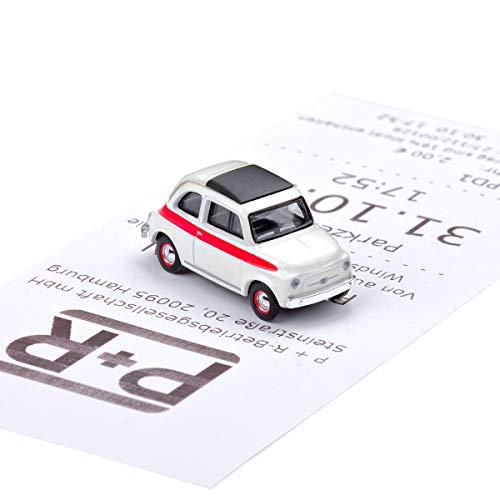 corpus delicti :: Magnetischer Parkscheinhalter für das Armaturenbrett – Modellauto mit Magnet und Selbstklebender Haftscheibe – Kultauto FIAT 500 Sport (20.10-35)