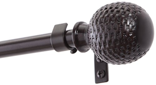 Kenney KN75800V1 Woven Ball Standard Decorative Window Curtain Rod, 90 to 130-Inch, Weathered Brown