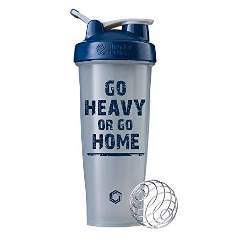 Go Heavy or Go Home on BlenderBottle Brand Classic Shaker Cup, 28oz Capacity, Includes BlenderBall Whisk … (Pebble/Navy - 32oz)