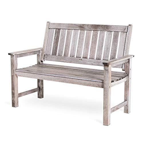 VonHaus Grey Garden Bench - 2 Seater Antique Distressed Effect - for Garden and Patio