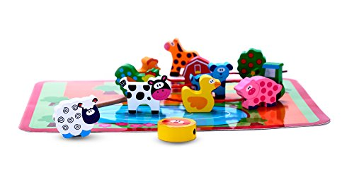 Cubbie Lee Unique Wooden Barnyard Farm Animal Lacing & Bead Threading Toy for Toddlers - Educational & Developmental Toy for Preschool Boys & Girls 2 and 3 Years Old
