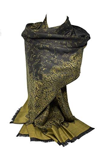 Schal Shack Pashmina-Stil, hochwertiger beidseitiger Druck, selbstgeprägt, Kaschmir-Gefühl, Wickeltuch, Stola, Schal Gr. One size, Schwarz und Olivgrün Paisleymuster.