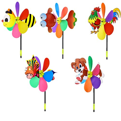 N\C 5 Pcs Windmills Colorful Wind Spinner 3D Large Cloth Pinwheel Christmas Whimsical Gifts Kids Toys Garden Ornament for Outdoor Yard Lawn Patio Decor and Party