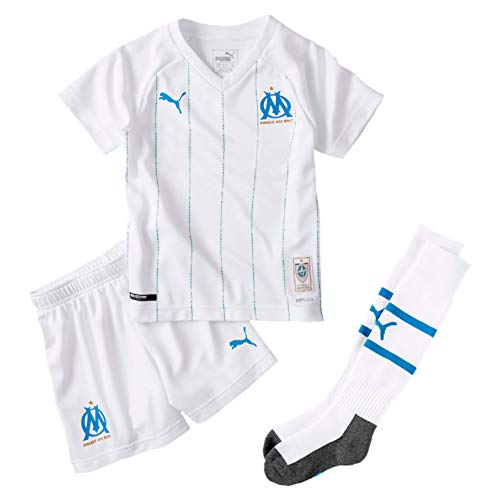 PUMA Jungen Trikot OM Home Minikit mit Sponsor, Socks und Hanger, Puma White, 98, 755692