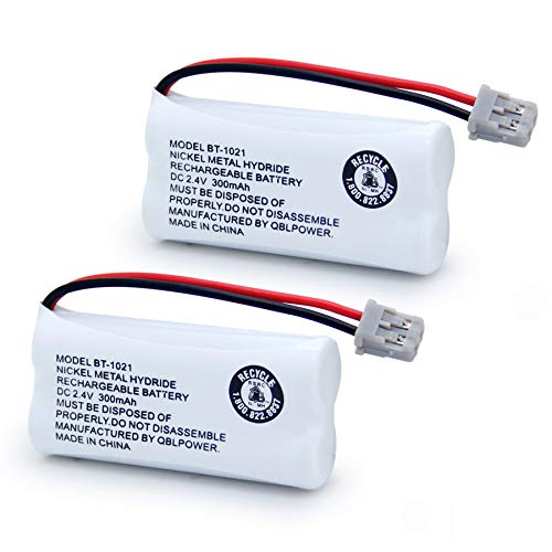 QBLPOWER BT1021 BBTG0798001 Battery Compatible with DECT 6.0 BT1008 BT-1021 BT1016 Cordless Phone Rechargeable 2.4V NIMH (2 Pack)
