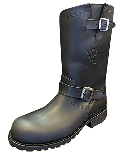 Sancho Boots Cowboydtiefel Westernstiefel Bikerstiefel Motorradstiefel 5659 Schwarz mit Profilsohle (Numeric_44)