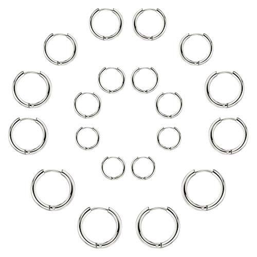 Set di 10 paia di orecchini rotondi a cerchio, per donne e uomini, ragazze, leggeri, in acciaio inox, per cartilagine, senza fine, ipoallergenici, 10-25 mm (10pair cerchio argento)