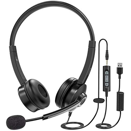 Nulaxy PC Headset mit Mikrofon, USB/3,5-mm Computer Headset mit Noise-Cancelling-Mikrofon, Leichtes Business-Headset mit Inline-Steuerung für Call Center, Skype, Webinar, Büro, Klassenzimmer.