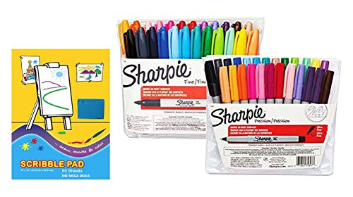 Sharpie Permanent Markers, Assorted Colors, 24 Fine Point Markers and 24 Ultra Fine Point Markers (Total of 48 Markers) | Includes 1 Scribble Pad