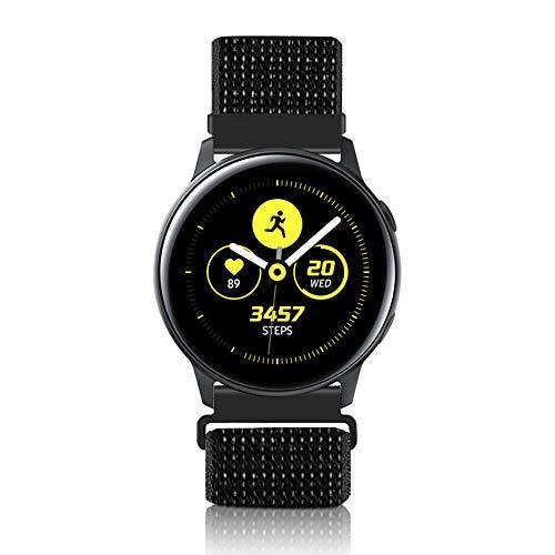 Vodtian 20mm Schnellwechsel Uhrenarmband für Samsung Galaxy Watch 42mm / Active2 44mm 40mm /Gear Sport/Gear S2 Classic/Garmin Vivoactive 3, Nylon Ersatz Sport Armband (20mm, Reflektierendes Schwarz)