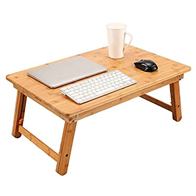 Nnewvante Large Size Laptop Tray Desk Foldable Bed Table Tray, Adjustable Coffee/TV Desk 100% Bamboo Breakfast Serving Tray Gaming Writing 4 Leg Locks Support up to 18in Laptop, 29.5x17.7in