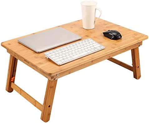 Best Large Size Laptop Tray Desk NNEWVANTE Foldable Bed Table Tray, Adjustable Coffee/TV Desk 100% Bamboo