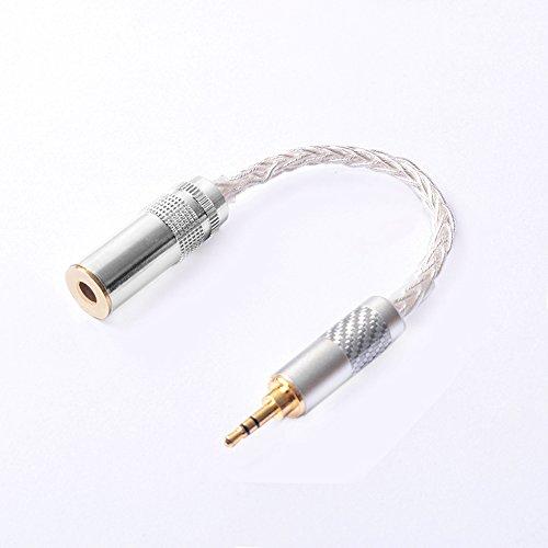 Okcsc Adapter für Kopfhörer, Audios, 4,4 mm Buchse auf 3,5 mm Stecker, symmetrischer Ausgang, Adapter für symmetrische Kabel, vergoldeter Stecker, M3F4 silber