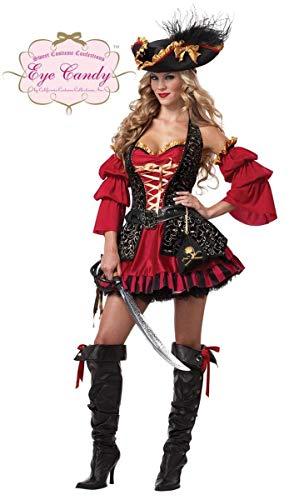 Generique - Disfraz Pirata Rojo para Mujer -Premium - S (38/40)