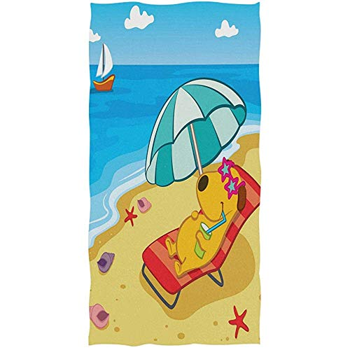 Vacaciones divertidas del perro de perrito Toallas de mano tropicales de la playa de la estrella de mar Toalla de baño ultra grande Toalla de baño 30 * 70cm