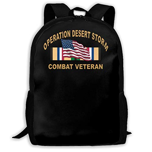 College Rucksack,Men Women Camping Backpack,Travel Knapsack,Waterproof Shoulder Backbag,School Laptop Bag,Us Army Combat Veteran Desert Storm