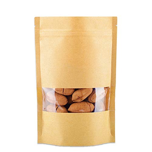 R-Noble 50 Pcs 3.5x5.5 Inches Stand Up Kraft Paper Bag, Reusable Zip Lock Sealing With Notch Matte Transparent Window Bags, All Purpose Storing Food Storage, Ideal for Coffee Beans, Nuts, Biscuits DIY