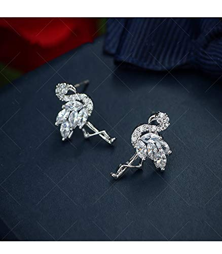 925 Sterling Silver Diamond Stud Earrings The Flamingo Earrings for Women Animal Stud Earrings