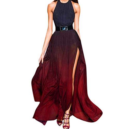 Sommer Frauen Sexy Sling Kleid Fashion Basic Vielseitiges Damenkleid Vintage Halfter Rock Farbverlauf Lange Maxi-Kleid Loses äRmelloses Mit Schlitz Party Abendkleid Cocktailkleid