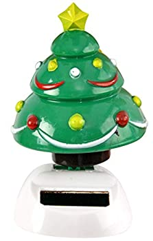 Home-X Christmas Tree Solar Dancer Figure Solar-Powered Dancing Office Desk Decor Windowsill or Car Dashboard Decoration