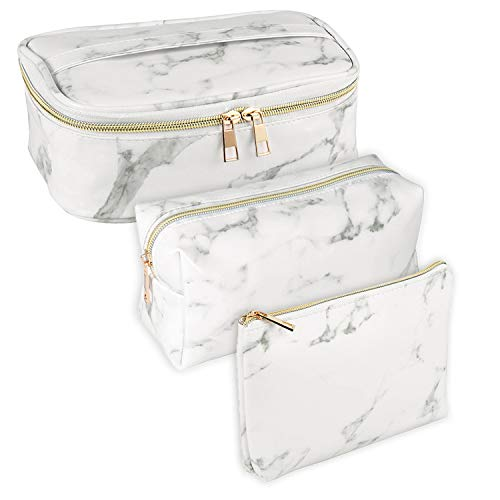SUBANG 3 Pack Marble Makeup Bag Toiletry Bag Travel Bag Portable Cosmetic Bag Makeup