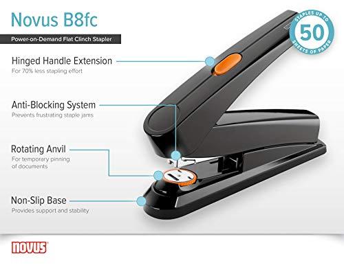 Novus B8fc Flat Clinch Stapler, Power on Demand=70% Less Effort, 50 Sheet Capacity, German Engineered, Staple|Pin|Tack, Black (020-1673) Photo #6